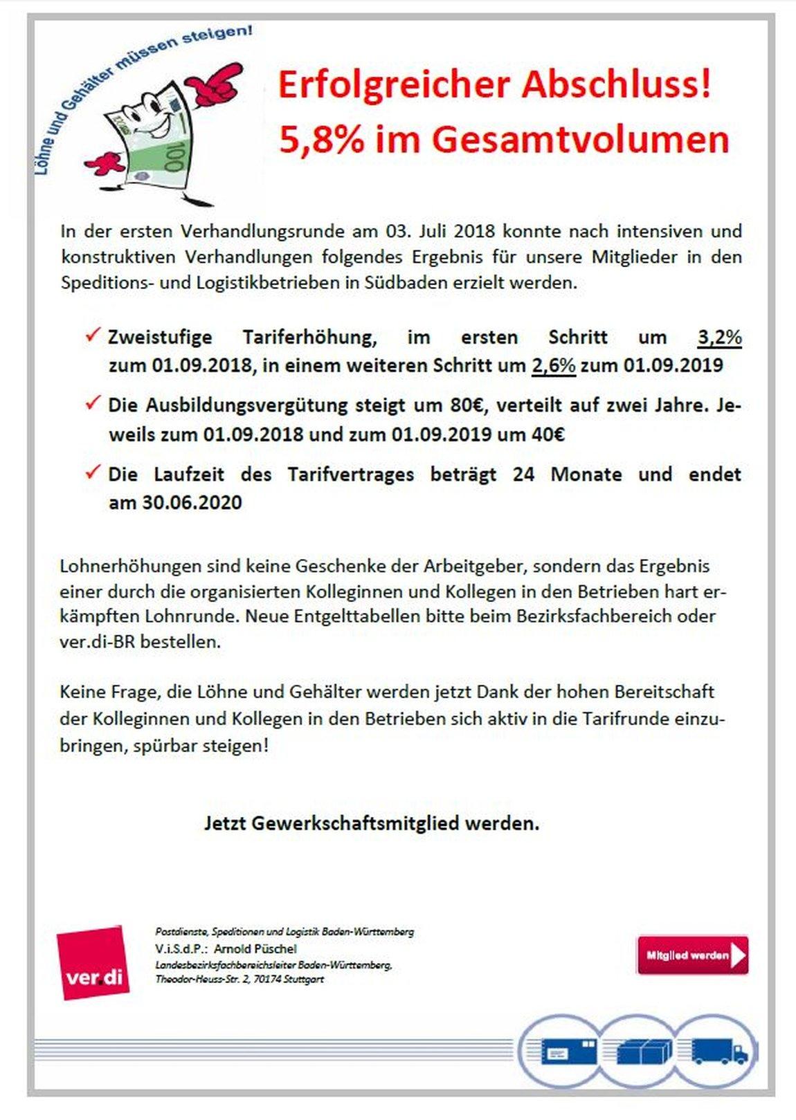 Tarifabschluss AVSL Südbaden 2018
